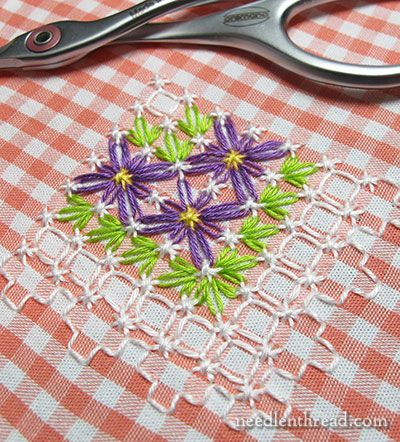 "Gingham embroidery, gingham lace, chicken scratch, Depression lace, Hoover lace, Amish lace, snowflake lace, broderie suisse - No matter what it's called, this is just cute and screams ""Springtime!"" May not be traditional colors, but would look great on a napkin or table runner for Easter."