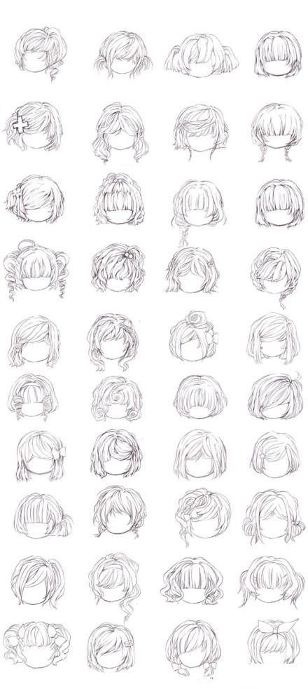 【漫画教程】动漫萝莉发型的画法~~参考吧~ Translation?  Various Manga hair styles
