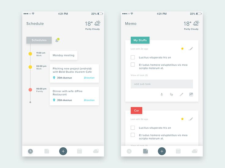Task, Memo, Schedule, Weather & etc. by Anton Chandra | dribbble