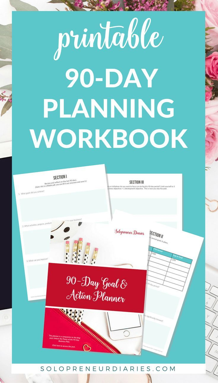 Small Business Planning | 90 days is the perfect amount of time for a business plan - you can stay focused, but still make significant progress toward your goals. Download your copy of the printable 90-Day Goal & Action Planner! | Productivity Tips | Entrepreneur | Templates | Strategy #businessgoals #businessplan #businessstrategy