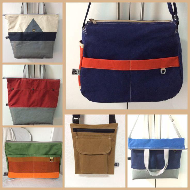Een aantal tassen gemaakt van oude de Waard tenten. Voor meer modellen, kijk op www.tasvantent.nl