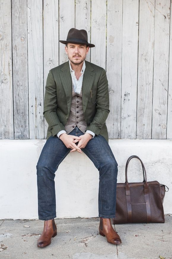 Brown Boots Outfit For Men 30 Ways To Wear Brown Boots Mens Outfits Brown Boots Outfit Striped Long Sleeve Shirt