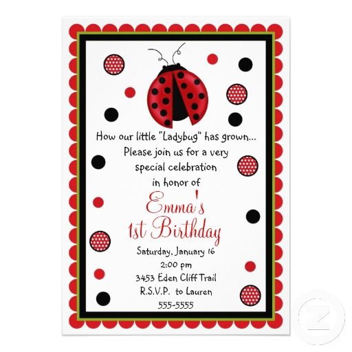 15 best Ladybug First Birthday Invitations images on Pinterest