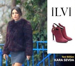 Kara Sevda 13.bölüm kıyafetleri Nihan bordo ayakkabı İlvi –