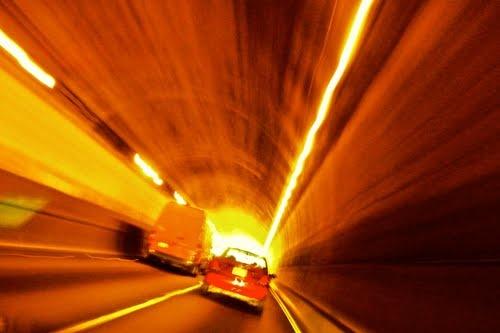 Speeding through the tunnel under the Presidio Golf Course - San Francisco, California