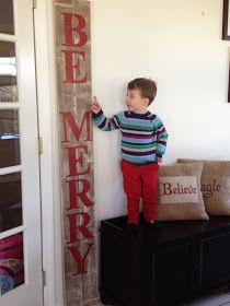 Two It Yourself: DIY Large Christmas Sign {Pottery Barn 'Peace' sign Knockoff}