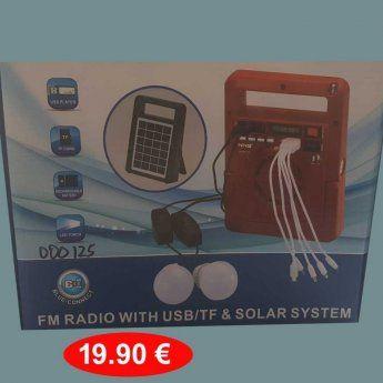 Ηλιακός φορτιστής-ψηφιακό Ραδιόφωνο-Bluetooth σύνδεση-Υποδοχές USB-...