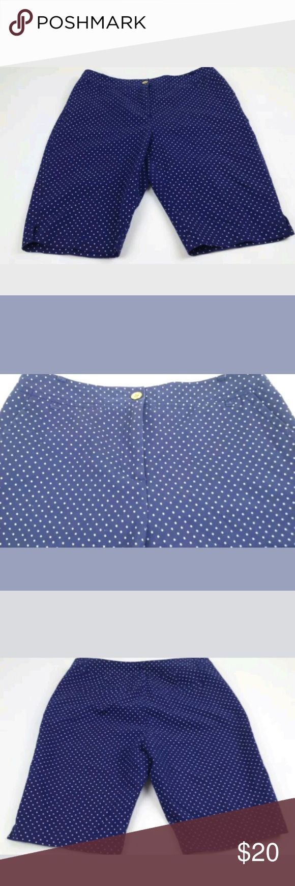 charter club  size 10 blue polka dot Bermuda short charter club slim it up women size 10 blue & white polka dot bermuda shorts The shorts are blue with a purple under tone. Therefore, some angles may look blue or purple.  98% cotton 2% spandex Inseam about 11.25 inches Length about 20.5 inches See picture for defect below zipper threading   Location From a pet and smoke free home Charter Club Shorts Bermudas