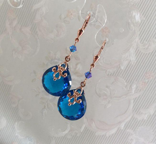 Topas - Swiss Blue Topas Ohrringe rose vergoldet - ein Designerstück von TsirliO bei DaWanda