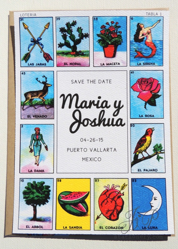 Destination Wedding Save the Date - Loteria Inspired ...