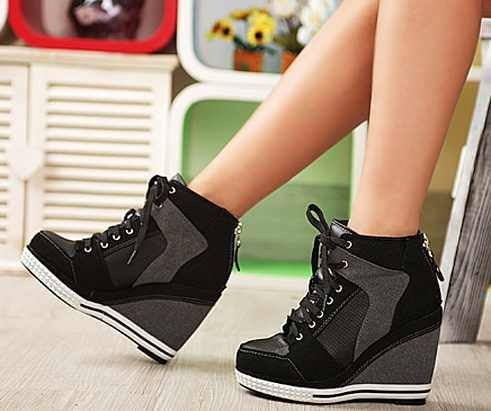 NYfashioncity womens suede sneaker platform high heels shoes lace ups  casual Black wedge shoes