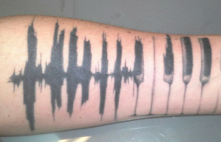 fresh ink. beginning of my half sleeve all dedicated to music. piano keys fading into a heart beat