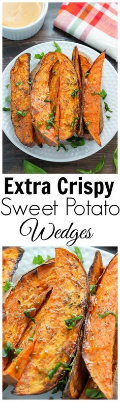 Extra Crispy Sweet Potato Wedges - oven baked and made with simple ingredients. These are SO addicting! - Can't wait to try these!!