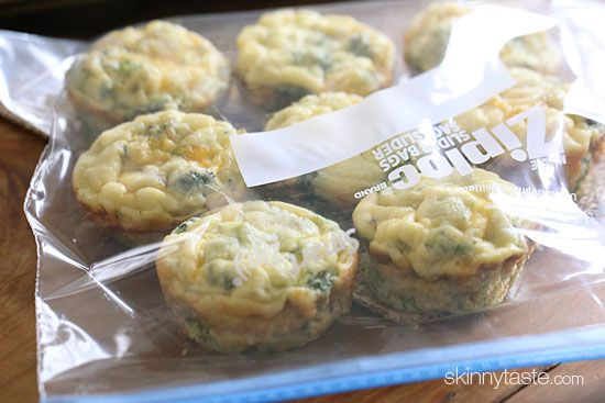 Broccoli and Cheese Mini Egg Omelets | Skinnytaste