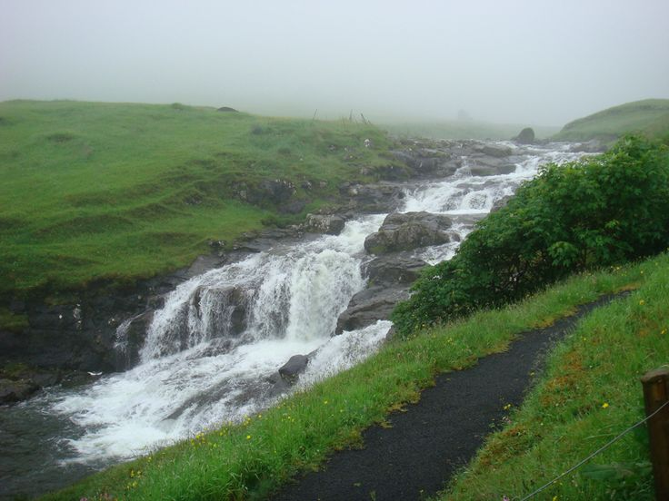 Waterfall on a foggy day