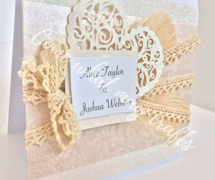 Beautiful boho feathers and lace design, with that warm feeling from white glitter card. with personalised names on too! Completely handmade by Come What May Crafts. Perfect for your wedding invitations with a twist.
