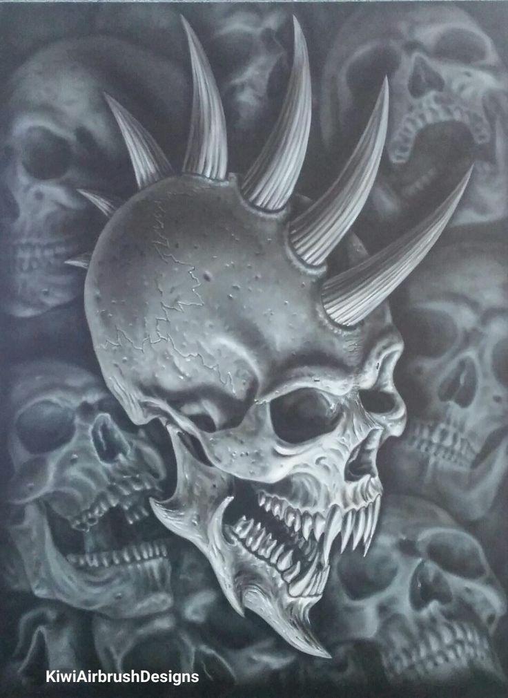 Demon Skull By Kiwi Terry Airbrush Designs Wallpaper
