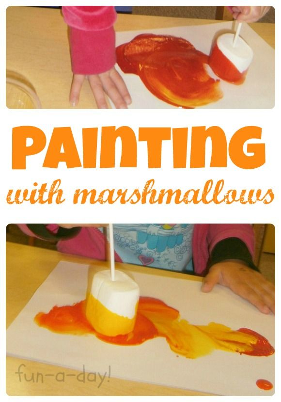 Painting with Marshmallows {Camping-Themed Process Art}  This looks totally fun!