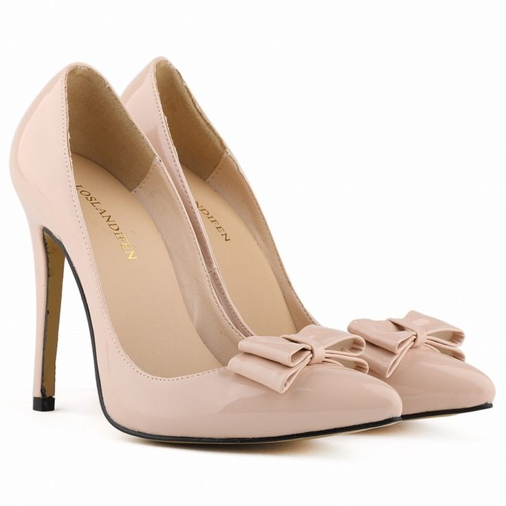 Aliexpress.com: Compre Verão novas mulheres shoes ladies feminino finos sapatos de salto alto partido couro envernizado Winklepickers escritório de couro bowtie clássico bombas de confiança estação sapato sapatos fornecedores em Top Quality Fashion Style