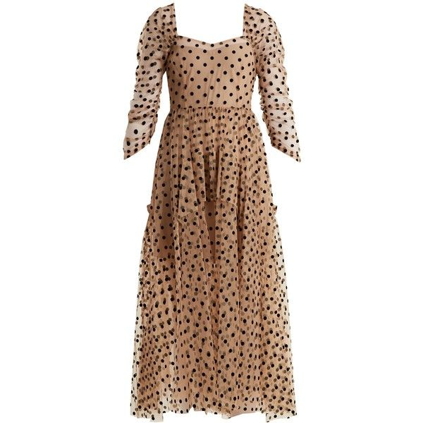 Isa Arfen Ethereal polka-dot tulle dress (€880) ❤ liked on Polyvore featuring dresses, nude, sweetheart neck dress, beige dress, sweetheart cocktail dresses, sweetheart dress and nude dress