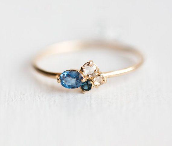 Blueberry Mini Cluster Ring / azul zafiro anillo / / 14 k oro Birthstone anillo de racimo / / rosa corta diamantes blancos / anillo zafiro oro