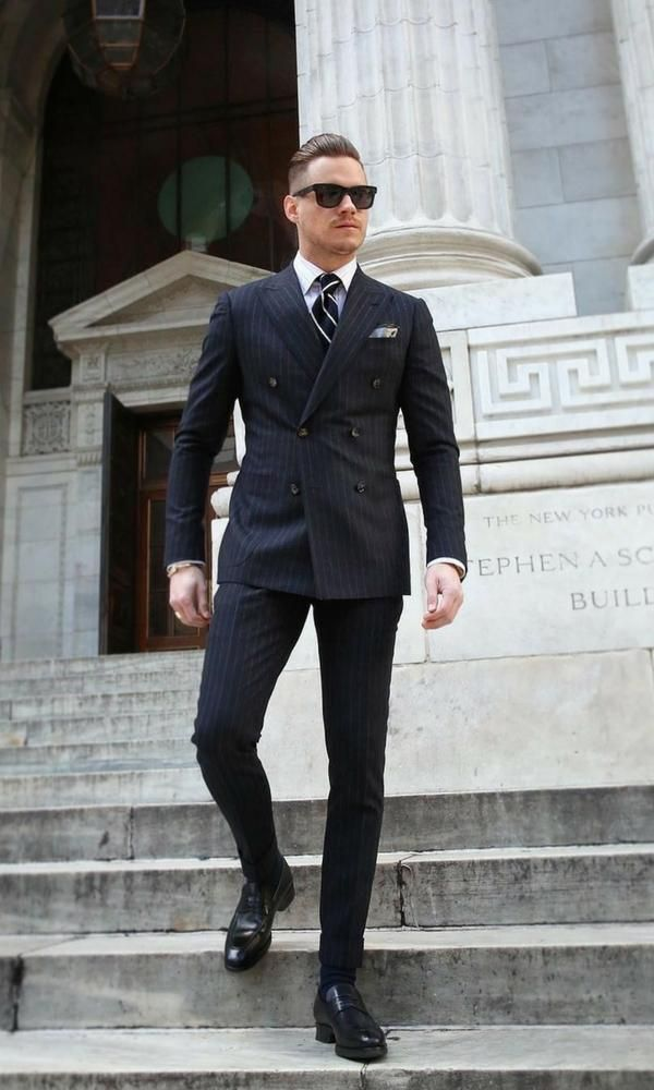 Aleksmusika With A Navy Double Breasted Suit With Black