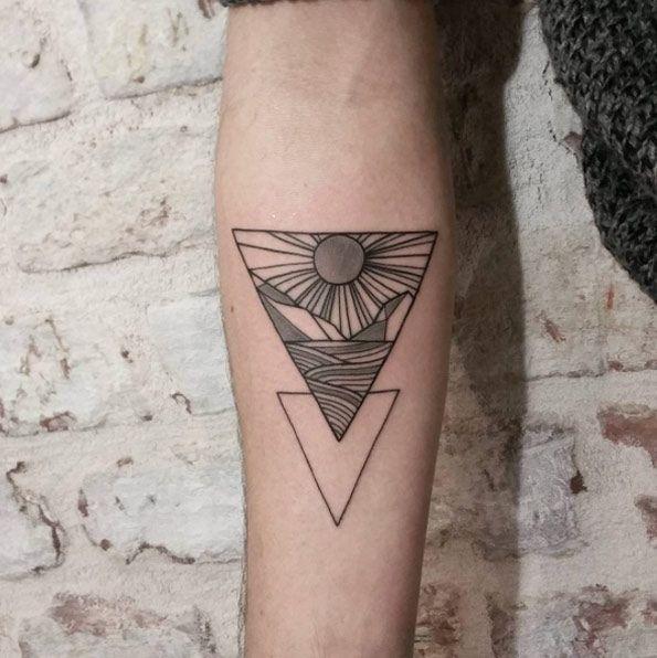 Geometric Landscape Glyph Tattoo by Friedrich Heyden