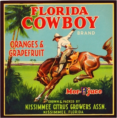 Kissimmee Florida Cowboy 3 Orange Citrus Fruit Crate Label Art Print | eBay