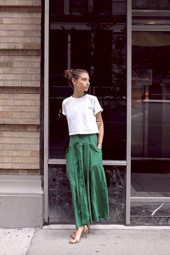 White tee and skirt