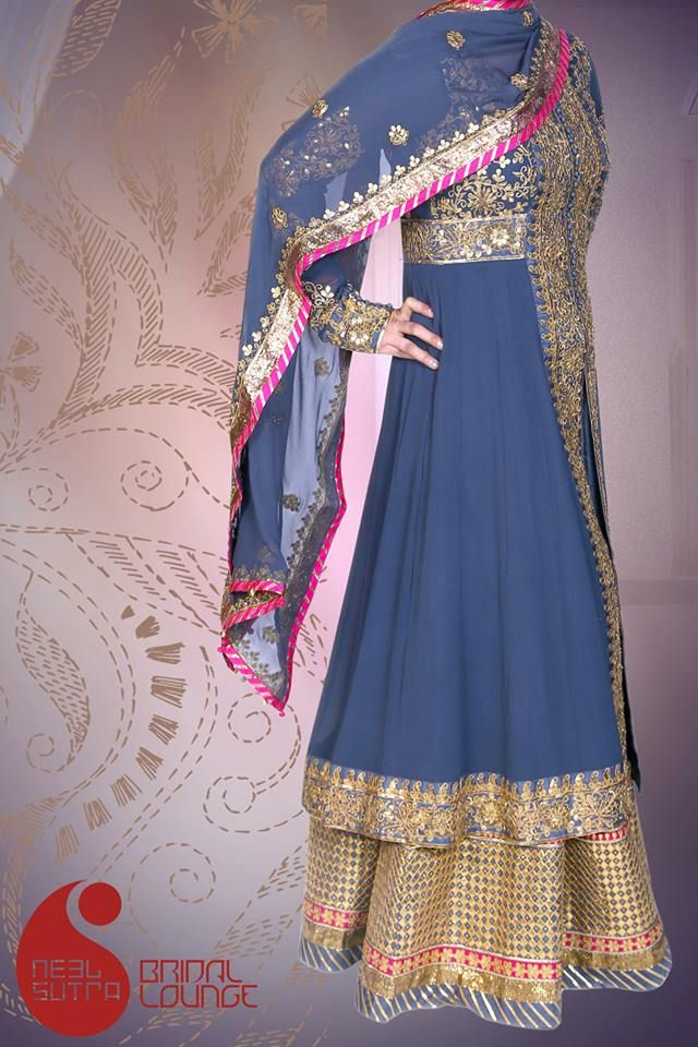 Blue grey color 4pc ensemble in traditional gottapatti work from all in silk georgette by Yamini Tholia. It is a ensemble to be worn for a sangeet or any wedding function.