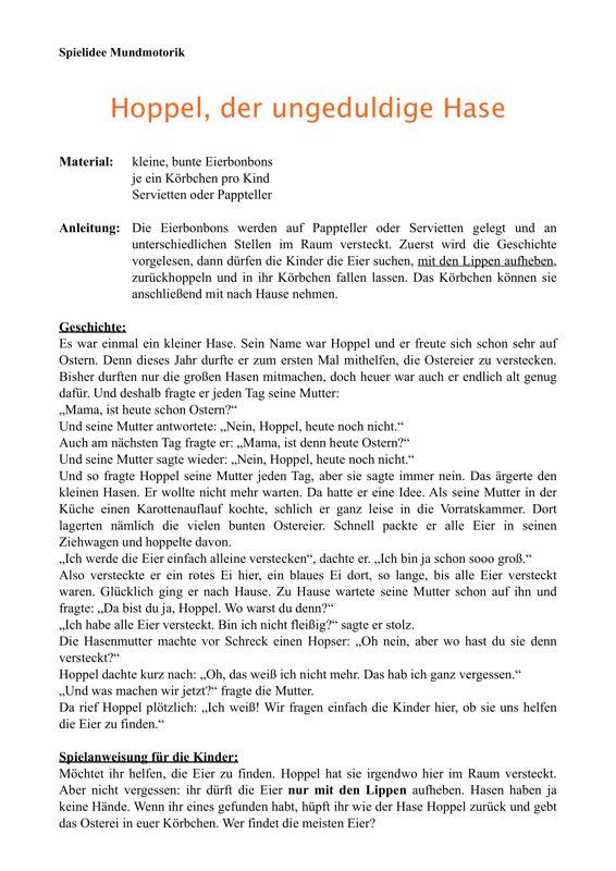 Osterspiel zur Mundmotorik - Therapiematerial zu myofunktionelle Störung. Auf madoo.net für deine logopädische Therapie.