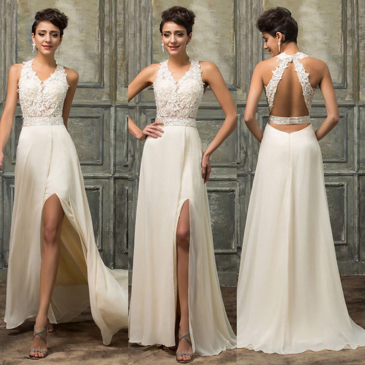 2016 Lace Long Formal Evening Gown Wedding Prom Bridesmaids High Split Dresses