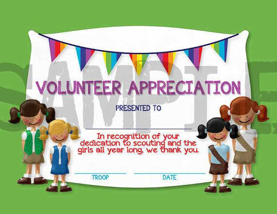 13 best girl scout leader awards ideas images on pinterest girl girl scouts volunteer appreciation certificate yelopaper Choice Image
