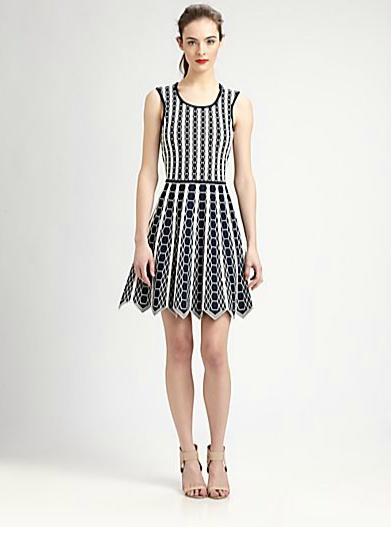 Pink Tartan Hexagon-Print Sleeveless Dress