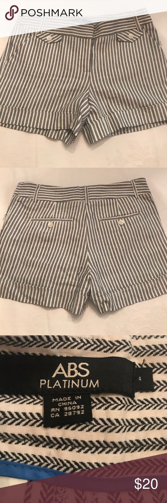 Women's Size 4 black and white short These are a women's size 4. They are black and white. They are gently worn with no stains or holes. Abs Platinum Shorts
