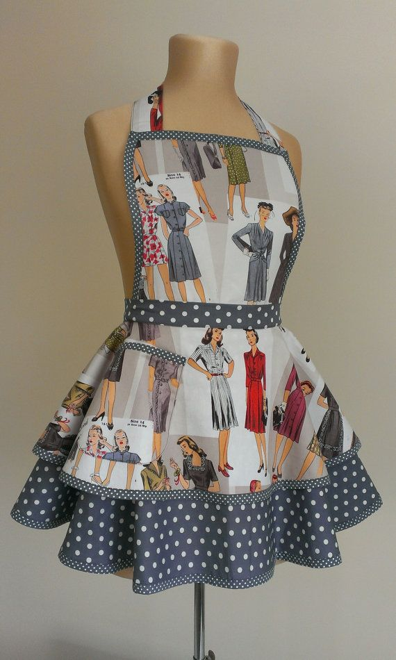 Just love this 1940's retro fabric. Hey, I found this really awesome Etsy listing at https://www.etsy.com/au/listing/264412914/1940s-womans-apron-vintage-apron-retro