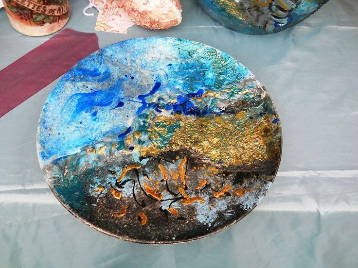 Piatto in stile Raku - Azzurro e Oro