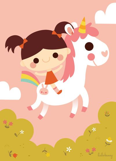 Riding a white unicorn Art Print