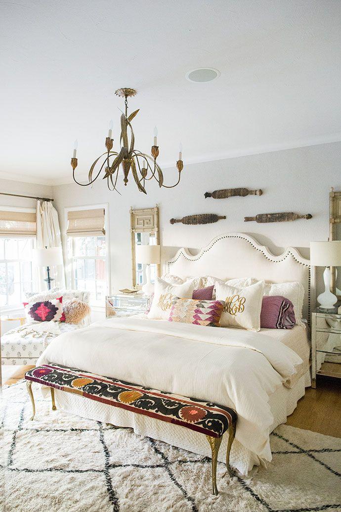 Upholstered headboard in the master bedroom