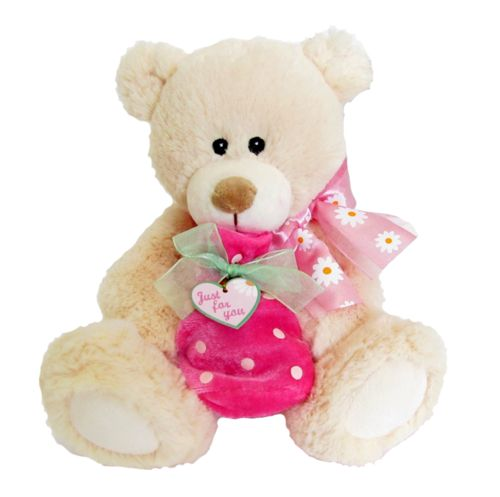 "A sweet teddy bear with a pink bag on it's knee that can hold a little gift. The sign on the heart says ""Just for you"".  #sendateddy #teddybear #toy #gift"