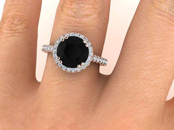 Black Diamond Engagement Ring Round Diamond Ring by BridalRings