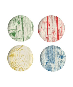 Portland Coaster Dishes  Each of these four melamine coasters features a different colored wood-grain design.