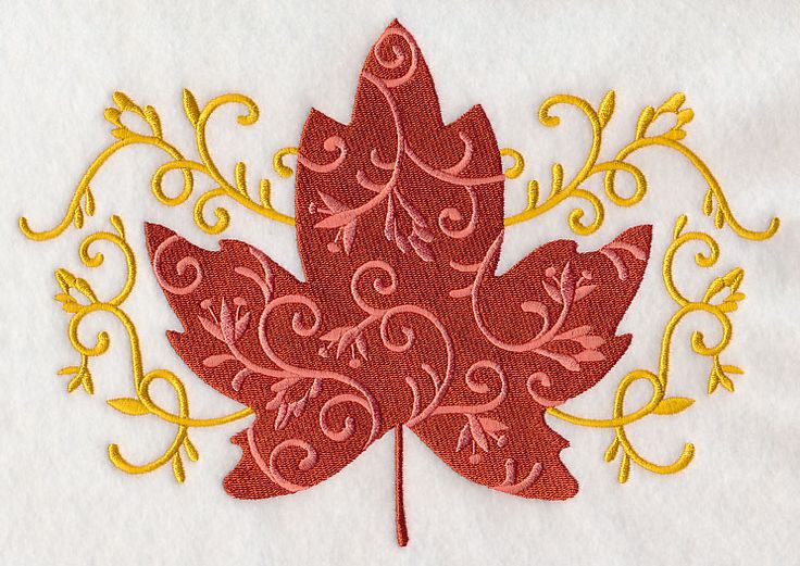 Free Embroidery Design: Elegant Filigree Maple Leaf