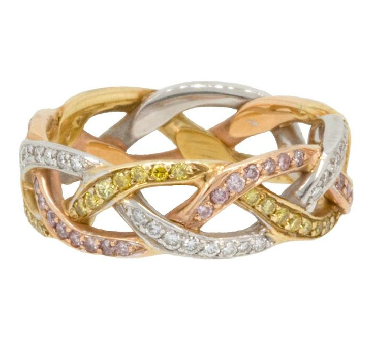 This stunning woven ring is made of 18k gold, and features pink, yellow and white diamonds. With a total carat weight of 1.05cts this ring is the perfect gift for the April anniversary or birthday. www.gembycarati.com www.facebook.com/gembycarati
