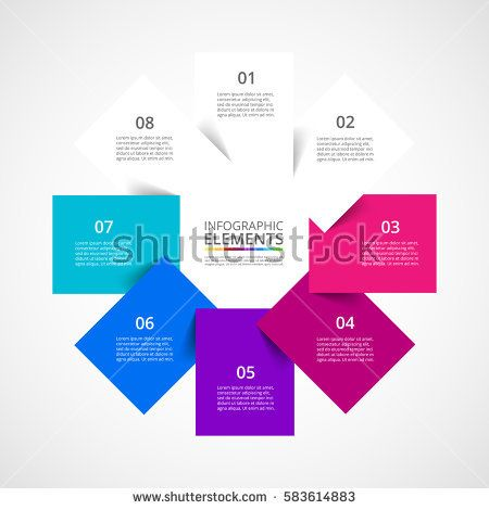 Infographics step by step. Universal abstract element of chart, graph, diagram with 8 steps, options, parts, processes. Vector business template for presentation and training.