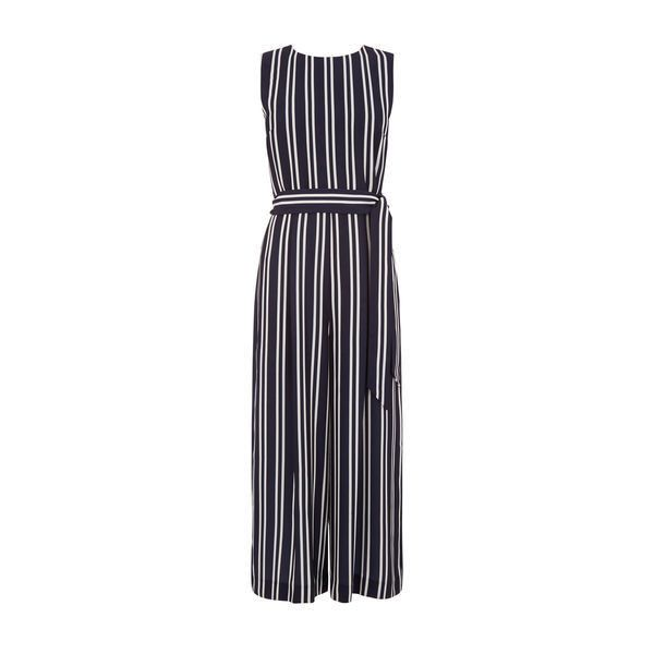 Warehouse Warehouse Stripe Open Back Jumpsuit Size 6 (£56) ❤ liked on Polyvore featuring jumpsuits, blue stripe, open-back jumpsuits, warehouse jumpsuit, blue wide leg jumpsuit, striped jumpsuit and cropped jumpsuit