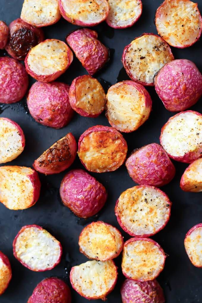 Crispy Roasted Radishes (roasted at 400° for 30-40 mins: radishes, olive oil, salt and pepper, smoked paprika, onion powder, and garlic powder)