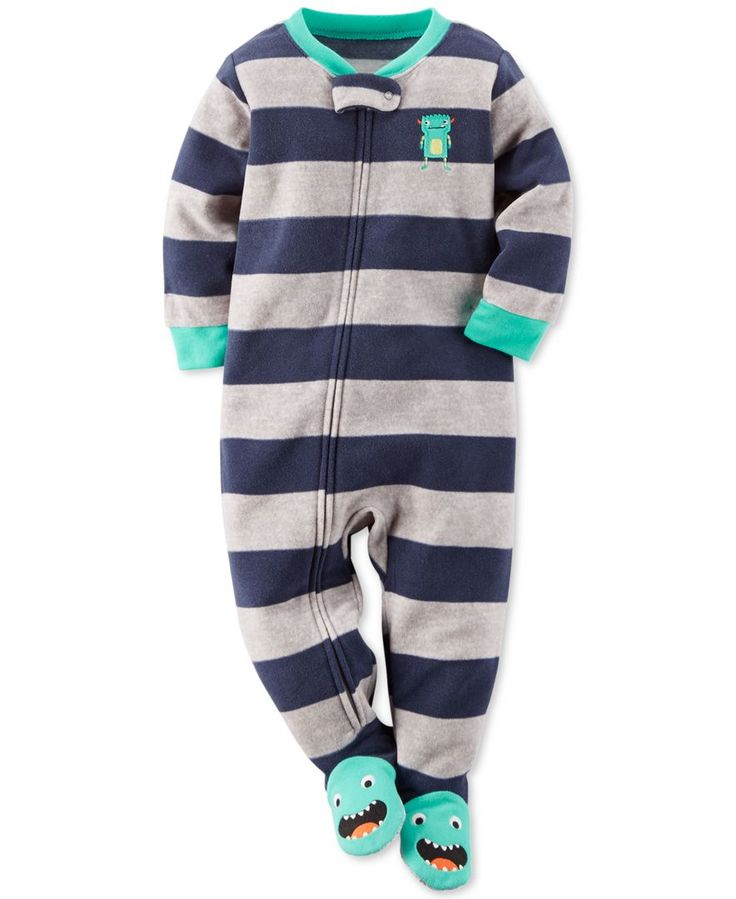 Carter's Baby Boys' One-Piece Stripe Monster Footed Pajamas