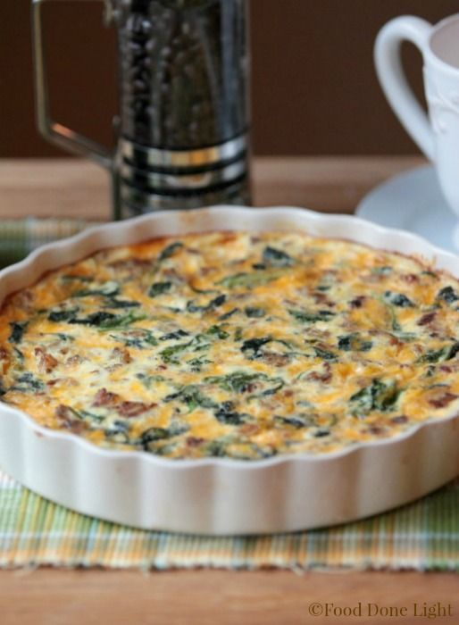 Great Crust! Healthy, lowfat Turkey Sausage, Kale & Cheese Quiche with Spaghetti Squash Crust www.fooddonelight.com