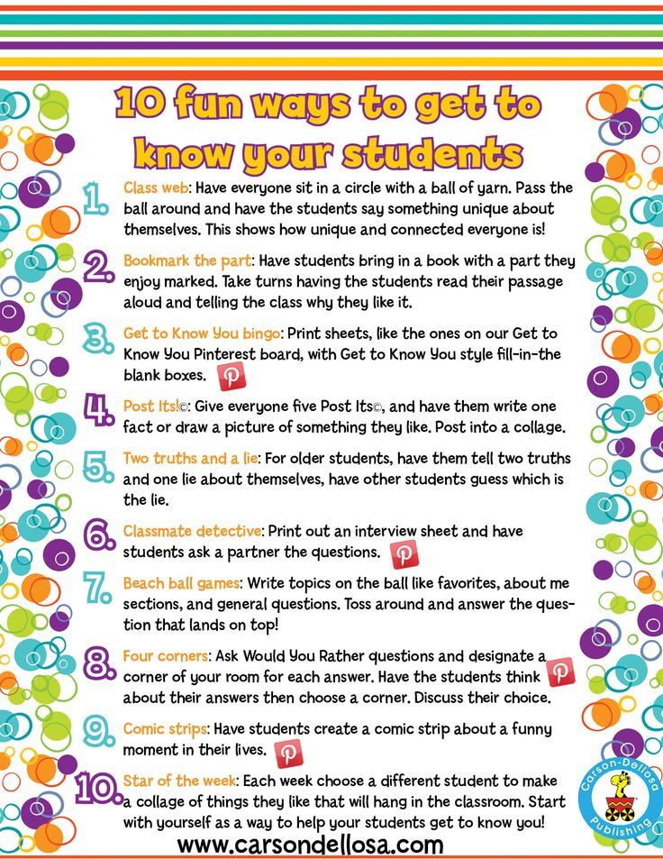 activities for Back-to-School? Maybe this list of ways to get to know your stude